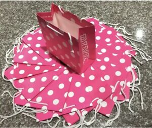 8 Victoria's Secret Pink Small Polka Dots Gift Paper Bags With Tissue New