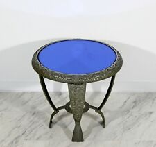 Art Deco Blue Mirrored Glass Top Side End Relief Table