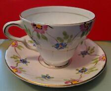 English Bone China- 5 mismatached Cup Saucers Free Shipping Taylor and Kent Vintage Bone China mismatched