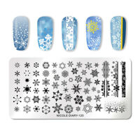 NICOLE DIARY Stamping Plates Rectangle Snowflake Nail Art Templates ND-120