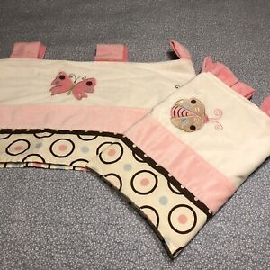 2) NoJo Collections Babies Window Valance Garden Pink Baby Curtain Butterfly