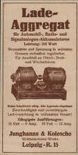 Werbung: LEIPZIG, um 1933, Junghanns & Kolosche Elektromotoren-Werke Aggregat