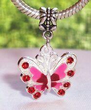 Red Butterfly Rhinestone Enamel Dangle Charm for European Bead Slide Bracelets