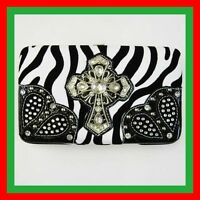 NWT ZEBRA BLACK  & CROSS RHINESTONE  WOMEN WALLET PURSE CLUTCH BAG CARD CASE NEW