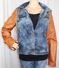 Ladies Blue Jean Jacket Brown PVC Vinyl Sleeves and Zippered Hood