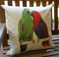 Cotton Linen Cushion Cover Pillow Case Australian Bird Pair of Eclectus Parrot