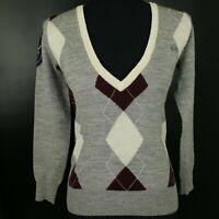LA MARTINA Womens Jumper SMALL Grey Cotton Pullover Sweater V-Neck