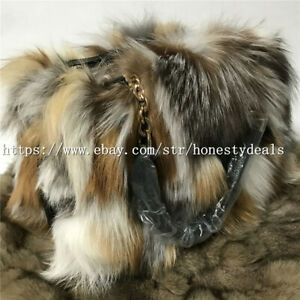 Multicolor Real Fox Fur Purse Handbag Top handle bag