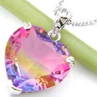 Summer Gift Heart Rainbow Bi Color Tourmaline Gemstone Silver Necklace Pendant