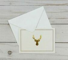 Greeting Note Cards Deer Buck Gold 6 Count Blank