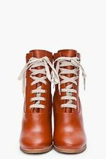 Chloe | Tan Leather Lace-Up Wedge Ankle Booties Boots 37 RRP USD$800