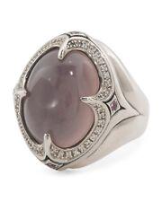 Scott Kay sz 6 Sterling Silver Oval Rose Quartz White Sapphire Ring Women NWT