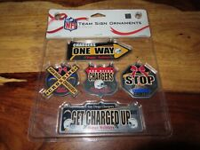 SAN DIEGO CHARGERS NFL Football Christmas Tree Ornaments 5 PACK Forever Collect.