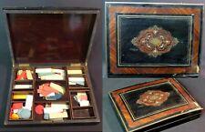 B 1860 napoléon III boite  jeux Coffret ancien précieux bois marqueterie Loupe