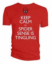 New Marvel Small Men's T-Shirt Spiderman Keep Calm Spider Sense Tingling Red