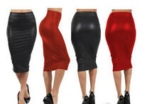 New Leather Look Faux Leather Pencil Skirt, Stretchy Size 10-12, Red or Black
