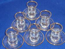 lot 6 VERRE assiette service à thé TASSE dorée OR glass téa glass pot gold gravé