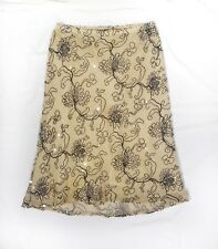 Tocca Women's Skirt 4 Bias Cut Silk Lined Embroidered Sequins Cotton USA Holiday