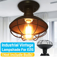 Industrial Vintage Metal Cage Fixture Ceiling Pendant Light Holder Lamp Shade