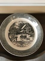 Royal China Currier Ives Jeannette Pie Pasta Plate  Sleigh Snow