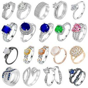 Women Swarovski Ring Crystal Elements CZ Jewellery Gems Fashion Real Quality UK