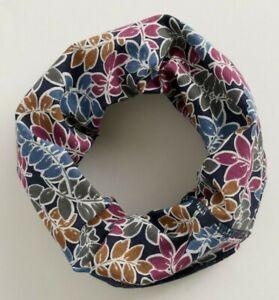 Seasalt Organic Cotton Handyband Snood In Inked Leaves Waterline