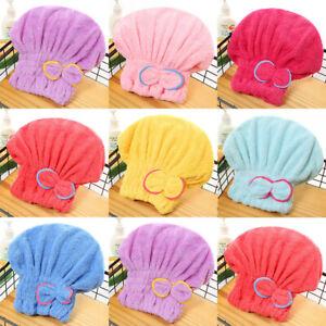 Microfiber Quick Hair Drying Cap Bath SPA Bowknot Wrap Towel Hat Bath Cap pink