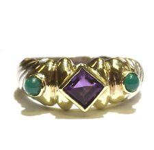 David Yurman 925 Sterling Silver amethyst emerald bezel set ring 5.1g unique 6.5
