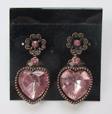 cc pink heart antique copper Dangle Earrings claire's jewelry marky kate ashley