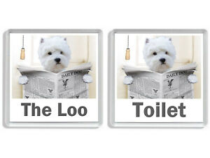 WEST HIGHLAND TERRIER READING A NEWSPAPER ON THE LOO Novelty Toilet Door Signs