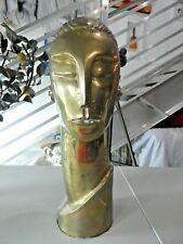 LARGE 1970'S ART DECO REVIVAL BRASS ROBOT HEAD
