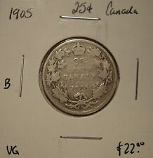 B Canada Edward VII 1905 Silver Twenty Five Cents - VG