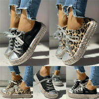 Women Leopard Rivet Embellished Lace Up Casual Canvas Shoes Mid Heel