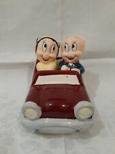 Looney Tunes Ceramic Porky & Petunia Pig Riding in Convertible Car Salt & Pepper