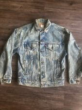 Vtg Levi's Mens Trucker Jacket Denim Jean Acid Wash 57508-0209 Sz Large USA Made
