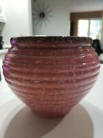 "Vintage Large Hull Pottery Basket pink Planter 6"" mid century msm"