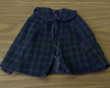 VTG AMERICAN GIRL GREEN&BLUE PLAID LINED FLANNEL PONCHO COAT DOLL CLOTHING