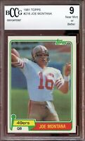 1981 Topps #216 Joe Montana Rookie Card BGS BCCG 9 Near Mint+