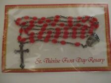 St Therese Feast Day Red Bead Metal Cross Rosary