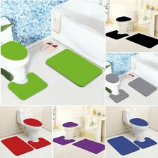 3PCS Bathroom Non-Slip Solid Color Pedestal Rug Lid Toilet Cover Bath Mat Set