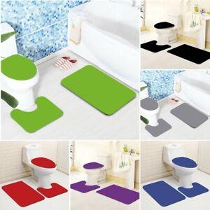 3PCS Bathroom Non-Slip Solid Color Pedestal Rug Lid Toilet Cover Bath Mat Set