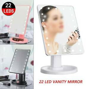 22 LED MAKE-UP VANITY MIRROR Tabletop Light Up Touch Screen Cosmetic Bathroom UK