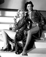 Jane Russell And Marilyn Monroe Sitting On The Stairs 8x10 Picture Celebrity Pri