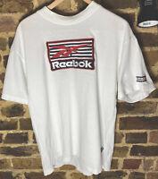 Vintage 90s REEBOK Waffle Knit  Tshirt crisp White Embroidered Tshirt RARE Large