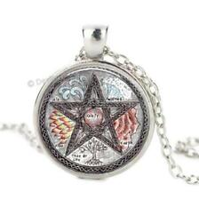 Pentagram Glass Cabochon Pendant Silver Chain Necklace Pentacle Wicca Spiritual