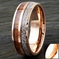 8mm Rose Gold Tungsten Wood & Meteorite Wedding Band Ring-Engraving Avail.