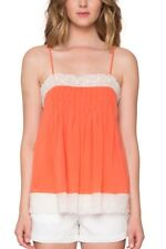 Willow & Clay Paradise Tank Lace Trim Orange S Small Square Neck Pleated NWT