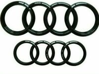 2x AUDI GLOSS BLACK FRONT & REAR 273x94mm 193x66mm BADGE EMBLEM A3 A4 A5 A6Sline