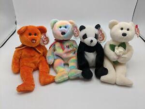 TY Retired Beanie Babies Lot of 4 - Bidder Mandy Dear One MC Beanie III