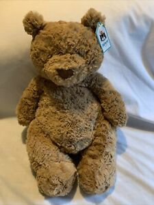 "NWT Jellycat London Brown Large Bartholomew Teddy Bear Soft Fluffy Plush 12"""